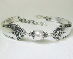 Spoon Bracelet, White Crystal Pearls, Sterling Silver Bali Bead ...