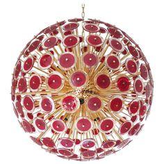 Vistosi Red Murano Glass Sputnik