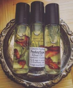 Protection Ritual Oil made with herbs like sage and rosemary, which has a long history for protecting homes and souls. Essential Oil Blends, Essential Oils, Witch Herbs, Kitchen Witch, Medicinal Herbs, Apothecary, Diy Beauty, Herbalism, Witchcraft