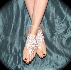 Tatted Barefoot Sandals  The Bride's Feet от TotusMel на Etsy