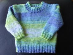 Handmade knitted baby boys jumper  age 0 to 6 by BulldogKnits, £20.00