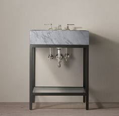 """$1646 25.5""""  Hudson Metal Powder Washstand Top & faucet included"""
