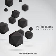 Black polyhedrons background Free Vector