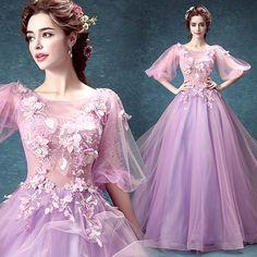 Purple long section of the wedding dress host performance dress