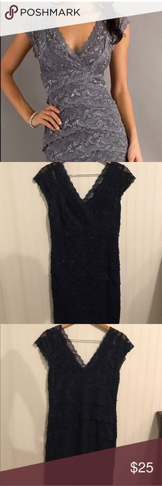 Marina lace cocktail dress Navy Blue Evening dress, cocktail dress, wedding dress, formal dress, navy blue beaded lace, great condition, size 14. Reposhing, I didn't even up going to the function. Dresses Wedding