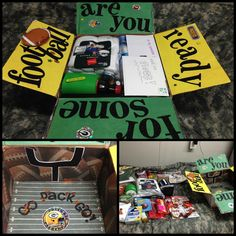 My very first care package! Packers/football themed. Had so much fun making this one! :) #army #deployment #milso