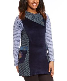 Loving this Blue Contrast Tunic on #zulily! #zulilyfinds