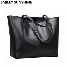 d58cdd5faa92 Genuine Leather Bag Female Large Shoulder Bag for Women Big Black Luxury  Famous Brand Women Leather Handbag bolsa feminina bolso