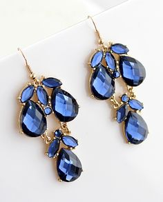 Blue Gemstone Drop Dangle Earrings - Sheinside.com