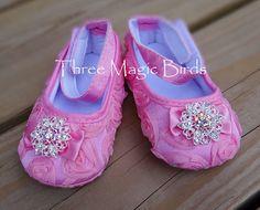 Baby Girl PINK Satin Soft Crib ShoesChristening by ThreeMagicBirds