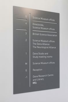 Patrick Fry Studio — Science Museum Research Centre Floor Signage, Wayfinding Signage, Signage Design, Directory Signs, Science Signs, Corridor Design, Sign System, Clinic Design, Environmental Design