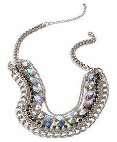 Material Girl Necklace, Silver-Tone Rhinestone Multi-Layer Chain Necklace