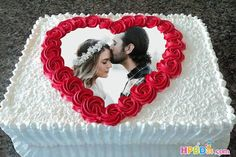 Happy Birthday Wish Cake With Photo Frame Happy Birthday Cake Pictures, Happy Birthday Wishes Cake, Birthday Cake With Photo, Birthday Cake With Flowers, Beautiful Birthday Cakes, Flower Birthday, Birthday Images, Birthday Quotes, Birthday Greetings