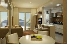 apartamentos pequenos decorados cozinha com a sala