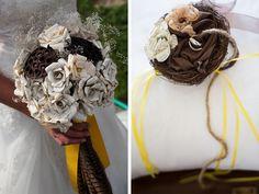 Buquê de noiva com flores de papel de livro. Foto: A Colorado Courtship.