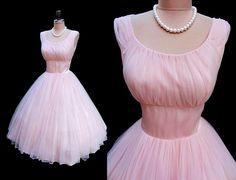 Vintage 1950's Ballet Pink Chiffon Satin Cocktail Party Dress