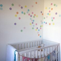 Our stunning confetti spot wall stickers will transform your child's room.We love these pastel confetti spots as they are so simple yet effective. Super easy to install, simply peel and stick to any smooth, flat surface. Printed onto premium self adhesive matt vinyl to create a contemporary finish to your children's bedrooms, playrooms and nurseries. Includes 72 x 6cm spots.Precision cut from matt finish removable vinyl, perfect for modern interiors. Once applied your wall sticker will look…