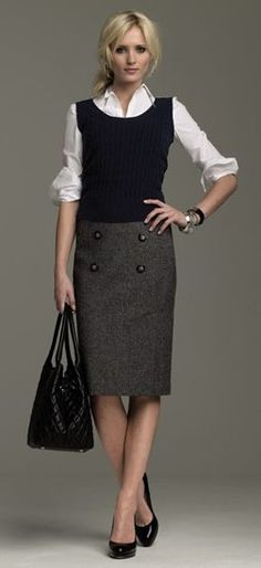 double button pencil skirt + sweater vest combo | Skirt the Ceiling | skirttheceiling.com