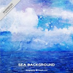 Watercolor abstract background of sea Free Vector