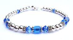 September Sapphire Sterling Silver Swarovski Crystal Bracelets - MEDIUM 7 1/4 In. Damali. $69.95