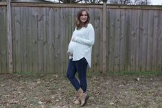Maternity Style // Mint Top & Moto Boots  www.michelletomczak.com