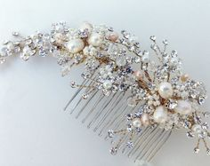 Crystal and Pearl Bridal Hair Comb, Wedding Hair Comb, Ivory & Champagne…