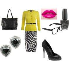 A *sassy* day at the office? Built around the zebra skirt. -C