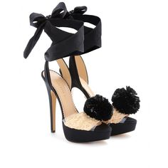 Charlotte Olympia Pom Raffia And Silk Platform Sandals