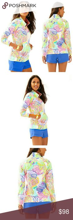 Lilly Pulitzer Skipper Printed Popover - XS Lilly Pulitzer Skipper Printed Popover. New with tags. Color: Multi. Size: X-Small. Style: Roar Of The Seas Popover top. Skipper printed Popover. Long sleeve half zip pullover with raglan sleeves and welt pockets. Print out of stock. 96% Cotton, 4% Spandex. No long available from Lilly Pulitzer website. Lilly Pulitzer Jackets & Coats