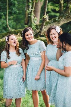 2015 Sky Blue Lace Bridesmaid Dresses Knee Length Vintage Short Sleeve Sash Jewel A-Line Plus Size Maid of Honor Party Cocktail Prom Dresses Online with $80.11/Piece on Sweet-life's Store | DHgate.com