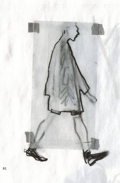 "Damir Doma Men's Spring Summer 2014 Look XXX illustrated by Richard Haines on ""What I Saw Today"" newspaper."