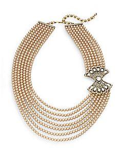 Daytime Statement Swarovski Crystal Multi-Strand Necklace/Goldtone