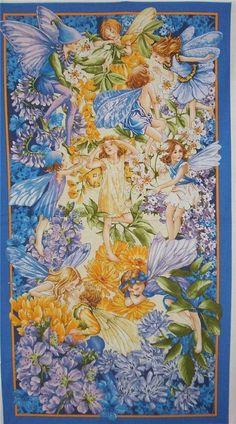 Nite Dawn Till Dusk Fairies Michael Miller Fairy Blue Fabric Panel #MichaelMiller 2/3 yd. panel $9 For K