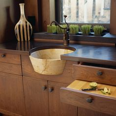 Craftsman teahouse - modern - kitchen - dc metro - Gardner Mohr Architects LLC; love the sink but I hope there is another one besides this.