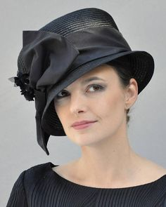 AWARD MILLINERY DESIGN I made this elegant black hat in my millinery studio in the Hollywood Hills, using the highest grade of parisisal (the queen of straws). It took a master weaver about 8 days to weave this piece of straw by hand and then it took me 3 days to steam, block, shape,