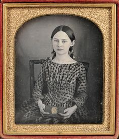 Sixth-plate Tinted Daguerreotype of a Seated Girl Holding a Book