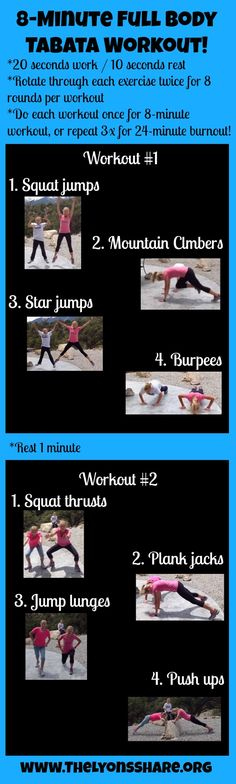 8 minute full-body tabata workout from The Lyons' Share