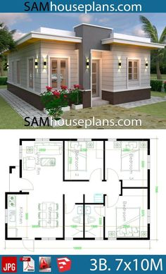 House Plans with 3 Bedrooms with terrace roof - Sam Hou.- House Plans with 3 Bedrooms with terrace roof – Sam House Plans House Design House Plans with 3 Bedrooms with terrace roof – Sam House Plans House Layout Plans, Country House Plans, Dream House Plans, Modern House Plans, House Layouts, Small House Plans, House Floor Plans, House Design Plans, Small House Layout