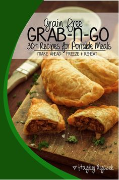 Remember those 'hot pocket' meals from the freezer section? Can you believe I've created a grain free version you can make at home and keep them on hand in your freezer for quick meals?? Over 30 amazing recipes for Grain Free Grab-n-Go, Portable meals on the go PLUS Dips & Sauce Recipes & Bonus Recipes!