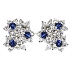 Shreve Crump & Low Sapphire Diamond Earrings | From a unique collection of vintage clip-on earrings at http://www.1stdibs.com/jewelry/earrings/clip-on-earrings/
