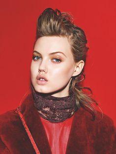 Red (Vogue Turkey).  August 2015.   Richard Burbridge - Photographer.   Konca Aykan - Fashion Editor/Stylist.   Teddy Charles - Hair Stylist.   Marla Belt - Makeup Artist.   Lindsey Wixson - Model.