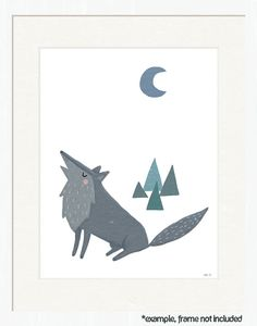 forest nursery art. wolf and woodland forest. art print for nursery, kids, baby, children. forest friends in gray, white, blue.