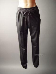 Black Faux Leather Urban Street Style Punk Women Slouchy Track Pants / Tambukiki Ebay Store