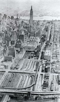 A1958 rendering of the Mid-Manhattan Expressway proposed by Robert Moses. (Thankfully, not built. It would have meant demolition of historic districts.)