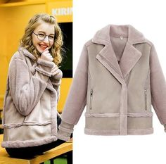 Suede Slim Fit Womens Fashion Mid Fur Thick Jacket Winter Europe Luxury Overcoat