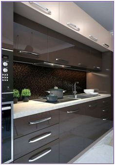 44 Fascinating Kitchen Glass Surfaces Design Ideas - Are you looking for a truly stunning finish to your top spec interior design project? Then look no further than bespoke glass surfaces. These decorati. Modern Kitchen Interiors, Luxury Kitchen Design, Kitchen Room Design, Modern Kitchen Cabinets, Contemporary Kitchen Design, Kitchen Cabinet Design, Home Decor Kitchen, Interior Design Kitchen, Kitchen Ideas