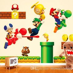 Super Mario Bros Cartoon Removable Wall Stickers for Wall Stickers | Buy Wholesale On Line Direct from China