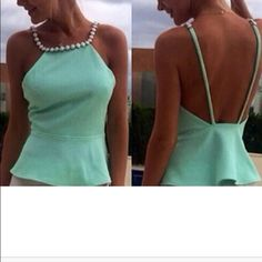Summer top/blouse gorgeous pearl neck This beauty comes in this one color green, comes in small, medium, xlarge, cotton blend crop top.  hurry as  they are selling fast, my next shipment will take a while, so you got to be patient , pearl neck, peplum style Tops Blouses