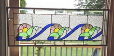Beveled Victorian Style 3 Flowers Stained Glass Window Panel Purple Blue Green | eBay