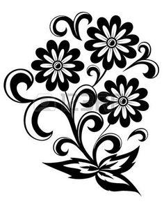 Free clip art black and white flowers flower flourishes clipart flor abstracta en blanco y negro con las hojas y los remolinos aislados en fondo blanco mightylinksfo